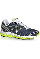 New Balance - Mens 880v3 Cushioning Running Shoes, Color: Navy with Yellow