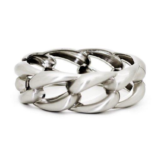 Womens Stylish Metal Hinged Wave Loop Chain Polished Bracelet / Bangle / Cuff
