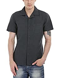 Zobello Men's Solid Camp Linen Shirt(11088G_Cool Black_X-Large)