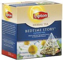 Lipton Herbal Tea Long Leaf, Bedtime Story, Pyramid Bags 20 Ct (Pack Of 18)