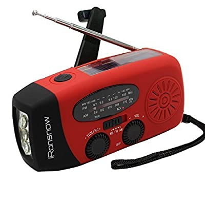 iRonsnow IS-088 Dynamo Emergency Solar Hand Crank Self Powered AM/FM/NOAA Weather Radio, LED Flashlight, Smart Phone Charger Power Bank with Cables