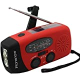 iRonsnow IS-088 Dynamo Emergency Solar Hand Crank Self Powered AM/FM/NOAA Weather Radio, LED Flashlight, Smart Phone Charger Power Bank with Cables(Red)