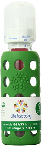 Lifefactory 9-Ounce BPA-Free Glass Baby Bottle with Protective Silicone Sleeve and Stage 2 Nipple, Grass Green