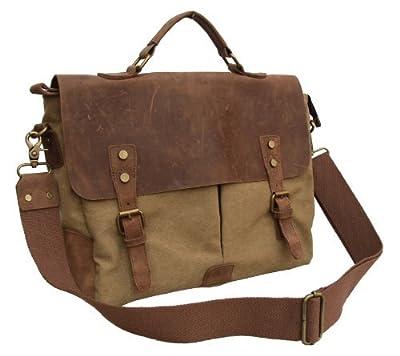 "Gootium 21108 Canvas Messenger Bag For 14-15.6"" Laptop With Full Grain Leather Trim"