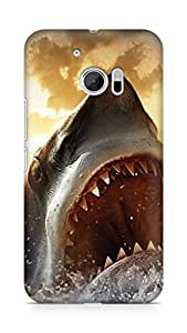 Amez designer printed 3d premium high quality back case cover for Htc One M10 (Ocean Shark Sharp Mouth Painting)
