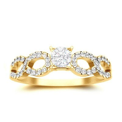 0.62 Carat Cheap Engagement Ring with Round cut Diamond on 14K Yellow gold