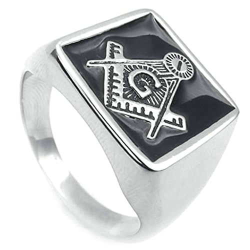 Daesar Stainless Steel Rings Mens Bands Silver Black Rings for Men Masonic Freemason Ring Size:8