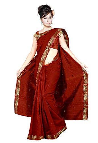 Indian Women's Traditional Art Silk Saree Sari Drape Top Veil fabric Maroon