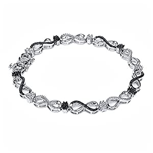 0.30 Ct Sterling Silver Genuine White & Black Diamond Infinity Tennis Bracelet