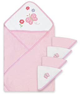 Spasilk 100% Cotton Hooded Terry Bath Towel with 4 Washcloths, Pink Flowers