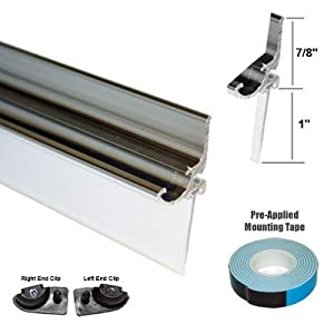"Chrome Framed Shower Door Replacement Drip Rail with Vinyl Sweep - 32"" Long by GordonGlass"