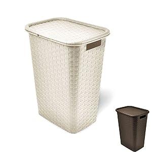 Wäschekorb Wäschebox Wäschetruhe in Flechtoptik 65 Liter (Creme)