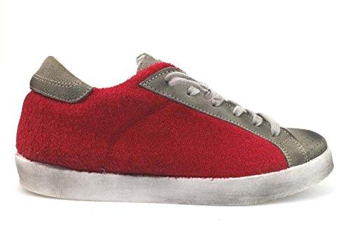 scarpe uomo 2 STAR sneakers rosso tessuto / camoscio AP692 (39 EU)