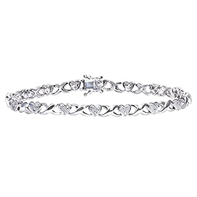 Ariel 0.25 Carat I Diamond Pave Setting Link Bracelet in 9ct White Gold