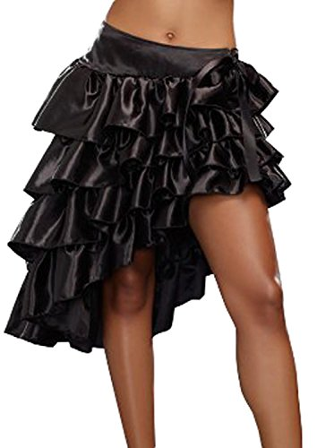 [COSWE Women's Satin Multi-layered Ruffled Skirt (L)] (Steampunk Gypsy Costume)