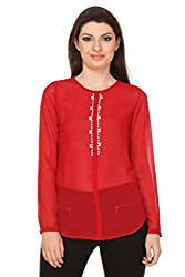 Oyshi Women's Embellished Top (RD1011L, Red, Large)