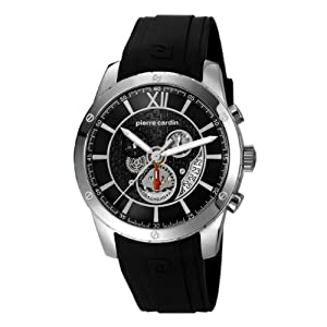 Pierre Cardin pc106101f01 44mm Stainless Steel Case Black Silicone Mineral Men's Watch