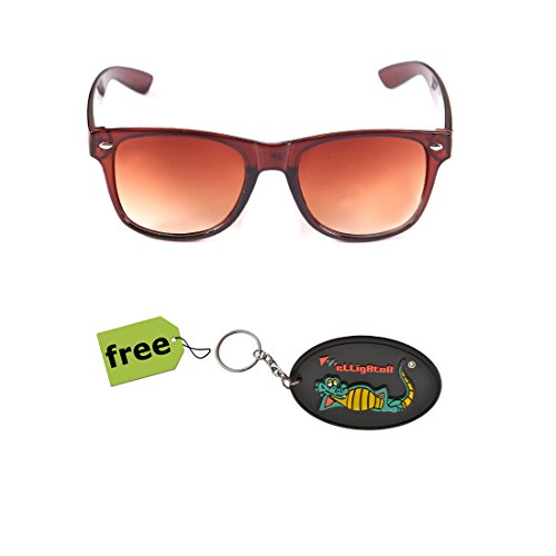 Elligator Trendy Brown Wayfarer Sunglass With Stylish Rubber Key Chain Combo (Set Of 2)  available at amazon for Rs.179