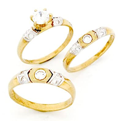 9ct Gold His & Hers Matching CZ 3 Trio Wedding Ring Set