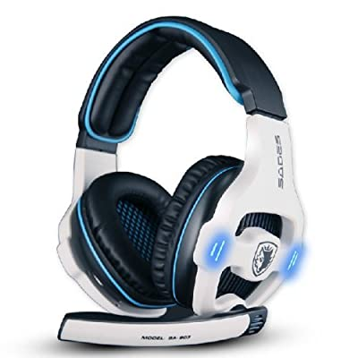 Emazon®ZPS Sades Stereo 7.1 Surround Pro USB Gaming Headset with Mic Headband Headphone White-Color
