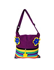 Womaniya Canvas Purple Handbag For Women(Size-32 Cm X 32 Cm X 10 Cm) - B00SJ1J5ZI