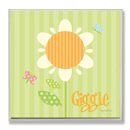 The Kids Room by Stupell Giggle Striped Sunflower Square Wall Plaque