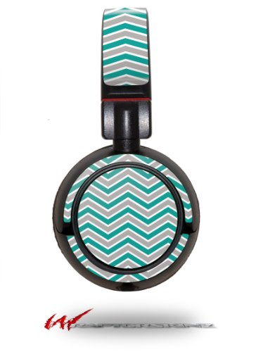 Zig Zag Teal And Gray - Decal Style Vinyl Skin Fits Sony Mdr Zx100 Headphones (Headphones Not Included)