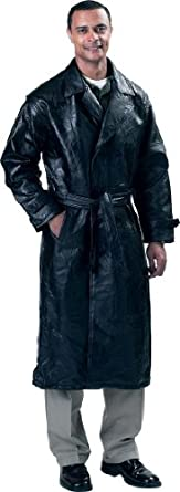 Buy Genuine leather Trench Coat Style (Black Large) by WMU