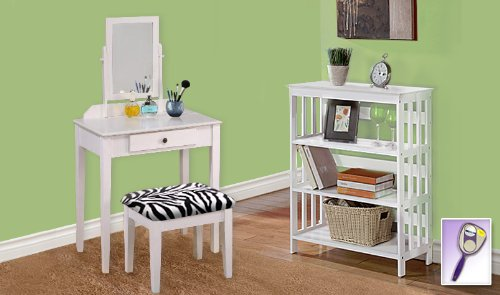 New White Finish Make Up Vanity Table With Mirror & Black & White Zebra Faux Fur Themed Bench And 4 Tier White Finish Book Shelf Includes Free Hand & Purse Mirror! front-124429