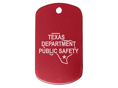 "Police Texas Tx Dps Red Dog Tag 24"" Chain And Silencer Custom Engraved By Ndz Performance"
