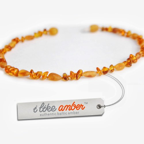 Amber Necklace - Baby Child size 31-36 cm - 100% Genuine Baltic Amber Beads - Top Quality on Amazon + Free Organza Gift Bag - Soothes & Calms Teething pain Naturally