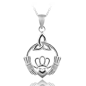 Sterling Silver Hands Holding Heart Necklace