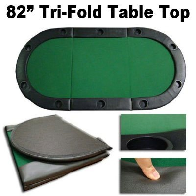 """82"""" Tri-Fold Poker Table Top w/ Cup Holders"""