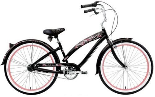 Nirve Island Flower 3 Women's 3-Speed Cruiser Bike (Black Plumeria)