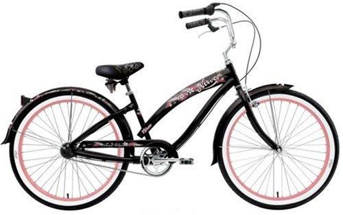 Nirve Island Flower 3 Women's 3-Speed Cruiser Bike (Black Plumeria)