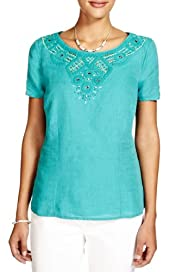 Per Una Linen Blend Embroidered Neck Embellished Blouse [T62-2933I-S]