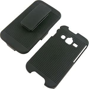 Rubberized Hard Shell Case w/ Holster for Samsung Galaxy Rugby Pro i547, Black