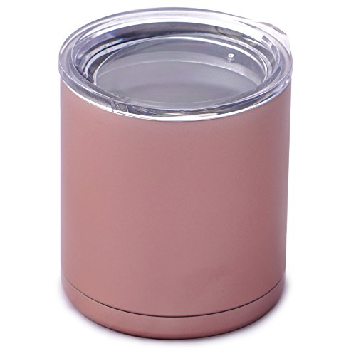 Rose Gold 10oz Lowball Tumbler. Double Wall Vacuum Insulated Stainless Steel Travel Coffee Mug. Cups For Hot and Ice Cold (Iced Tea, Wine & Cocktails) Beverages. Excellent Wedding & Christmas Gifts!