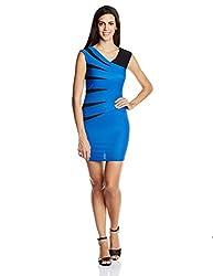 PrettySecrets Women's Body Con Dress (PSW14APL53 _Blue_Small)