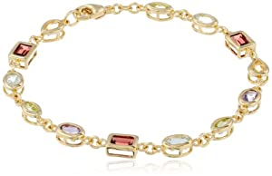"18k Gold Plated Sterling Silver Multi-Gemstone Bracelet, 7.5"" by Amazon Curated Collection"