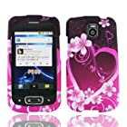 For AT&T LG Thrive P506 Accessory - Purple Heart Designer Hard Case Cover +Lf Stylus Pen