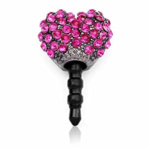 Cute Heart-shaped Dust-proof Red Cz Diamond Jack Plug for Iphone/cell Phones
