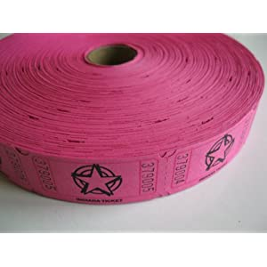 2000 Hot Pink Star Single Roll Consecutively Numbered Raffle Tickets