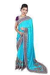 Aradhya Women's Embriodered Georgette Blue Saree (Blue_ara001)