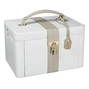 Dulwich Designs NEW Two Tone Collection Luxurious Cream Leather Jewellery Box - Large - 71023