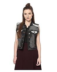 Yepme Ivana Sleeveless Denim Jacket - Black -- YPMJACKT5090_S