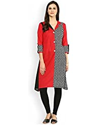 AnjuShree Choice Women's Black & Red Cotton Check Printed Straight Kurti