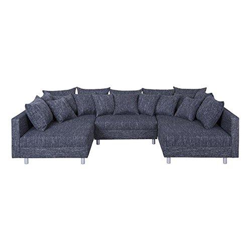 XXL Wohnlandschaft Ecksofa Eckcouch Couch RUTH mit Hocker und Kissen in schwarz jetzt bestellen