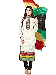 Fashion Queen Presents White Colored Unstitched Dress Material