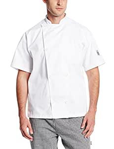 Chef Revival J005 Poly Cotton Knife and Steel Short Sleeve Chef Jacket with White Chef Logo Button, 3X-Large, White